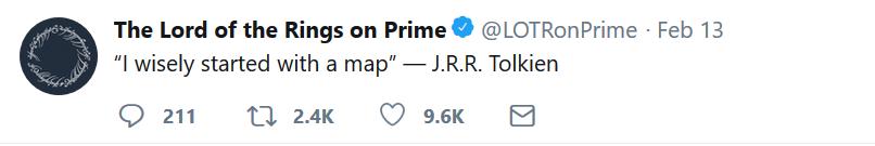 tweet1 AMAZON PRIME VIDEO | J.R.R. Tolkien | Lord of the Rings AMAZON PRIME VIDEO, J.R.R. Tolkien, Lord of the Rings, Twitter