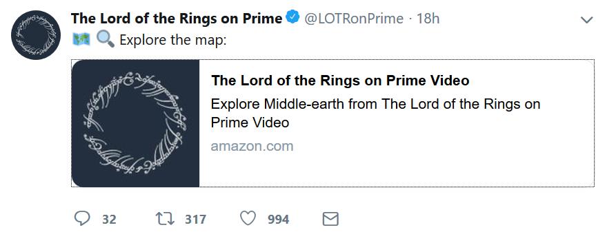 tweet3 AMAZON PRIME VIDEO | J.R.R. Tolkien | Lord of the Rings AMAZON PRIME VIDEO, J.R.R. Tolkien, Lord of the Rings, Twitter